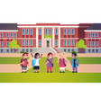 mix race pupils standing school building yard boys vector image vector image