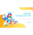 online consultation - modern colorful isometric vector image