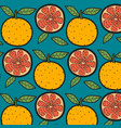 oranges fruit pattern with blue background vector image vector image