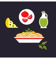 Pasta with cheese tomato olive oil parsley vector image vector image