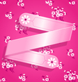 Pink Floral Satin Ribbon Background vector image vector image