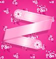 Pink Floral Satin Ribbon Background vector image vector image
