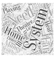 Playing the Field with Home Theater Systems Word vector image vector image