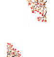 red flower with brown leaves border watercolor vector image