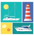 Sailing yacht Lighthouse Marintime vacation vector image