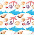 seamless background design with sea animals vector image vector image