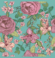 seamless pattern with beautiful flowers and plants vector image