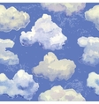 seamless pattern with watercolor blue clouds vector image