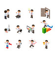 set of businessman character cartoon isometric vector image vector image