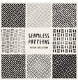 Set of Eight Seamless Black and White Hand Drawn vector image vector image