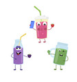 set of funny characters from smoothies vector image vector image