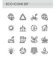 Set of line eco icons green