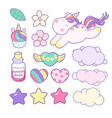 set unicorns and different magic elements vector image vector image
