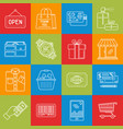 shopping and consumerism lineart minimal iconset vector image vector image