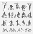 silhouettes cyclists and bicycles vector image