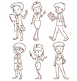 Simple sketches of doctors vector image vector image