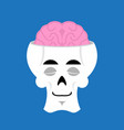 skull and brain sleeps emoji skeleton head asleep vector image vector image