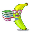 student with book fruit green bananas isolated on vector image vector image