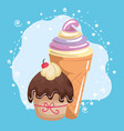 sweet and delicious cupcake with ice-cream vector image