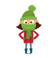 teenage in red jacket and green scarf isolated on vector image