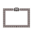 vintage rectangular frame with crown logo on top vector image