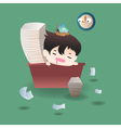 cute cartoon or mascot businessman feels tired and vector image