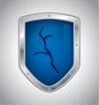 Broken security shield vector image