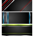 Abstract black tech banners with stripes vector image vector image