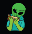 alien eating vector image