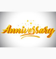 anniversary golden yellow word text with vector image
