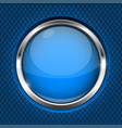 blue button with chrome frame round glass shiny vector image vector image