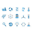 blue color science icons set vector image