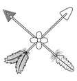 bohemian arrows crossed with feathers and flowers vector image