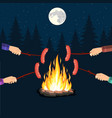 bonfire with grill sausage vector image vector image