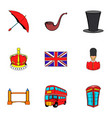 british kingdom icons set cartoon style vector image vector image