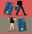 business man and business woman with credit card vector image vector image