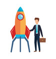 businessman with rocket startup vector image vector image