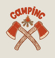 camping two crossed hatchets and tourist vector image vector image