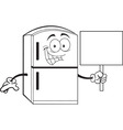 Cartoon Refrigerator Holding a Sign vector image vector image