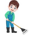 cartoon young farmer working with a rake vector image vector image