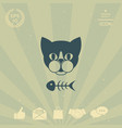 cat with fish skeleton icon logo symbol vector image