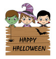 children dressed as halloween vector image