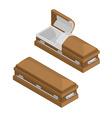 Coffin isometrics Wooden casket for burial Open vector image vector image