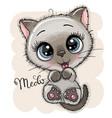 cute cartoon kitten with big eyes vector image