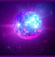 disco or mirror ball with bright rays music and vector image vector image