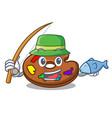 fishing palette mascot cartoon style vector image