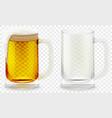 foamy beer glass realistic 3d vector image vector image