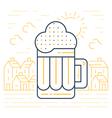 Foamy beer mug linear icon vector image vector image