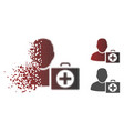fractured dotted halftone doctor icon vector image vector image