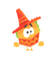 funny cartoon mexican taco character wearing vector image vector image